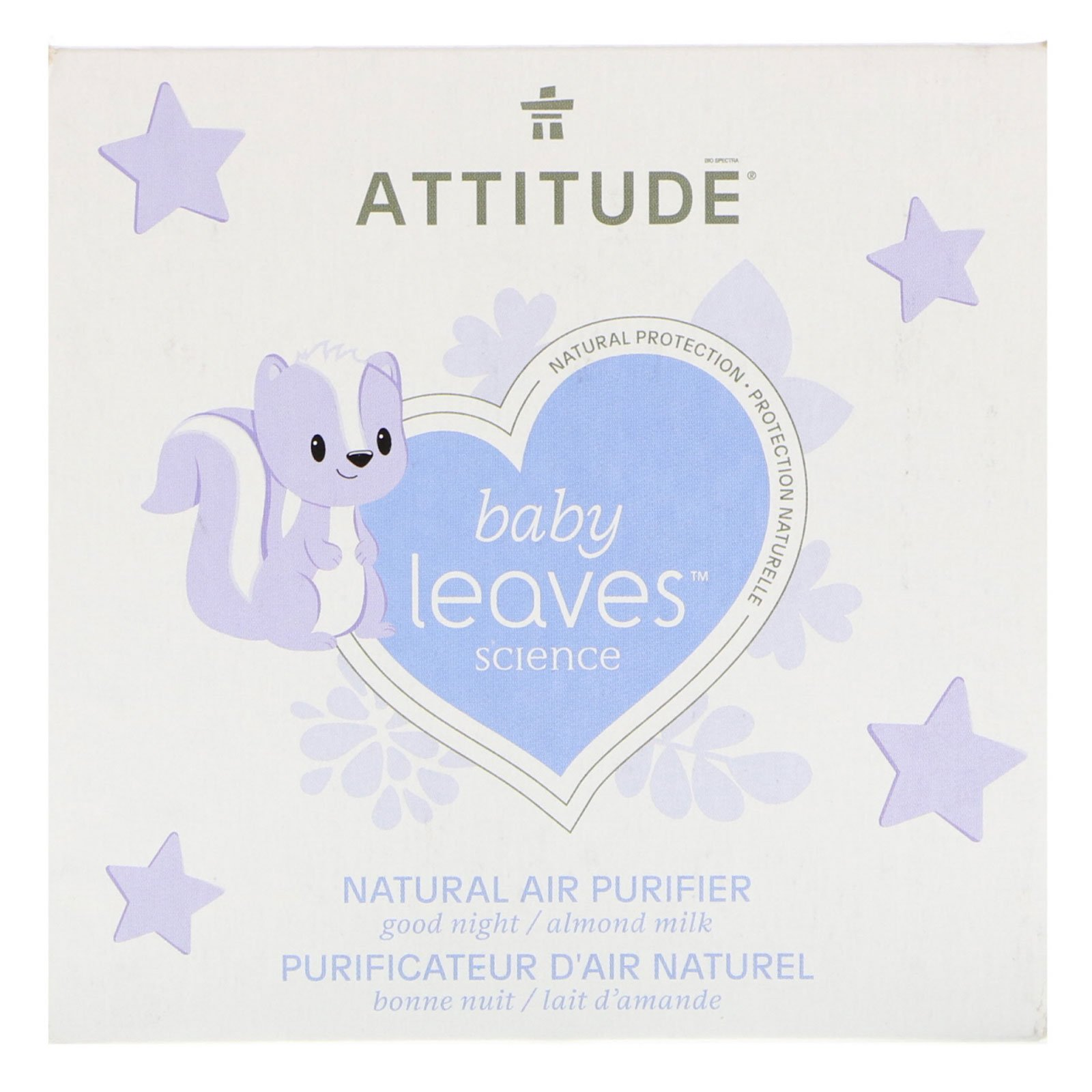Attitude Natural Air Purifier with Activated Carbon Filter | Traps Air Polluants and Contaminants, Neutralizes Stubborn Odors | Baby Leaves Science Collection | Almond Milk (8 oz)