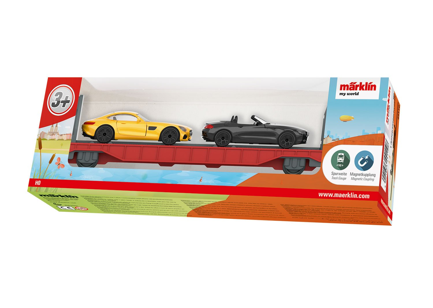 Red for My World Battery Train Sets Auto Transport Flatcar w//2 Autos Gray