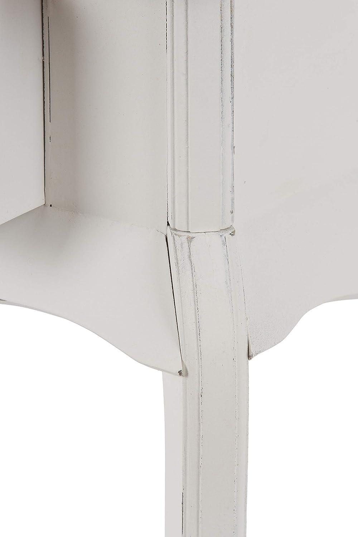 elbmöbel Teléfono Mesa Mesa Auxiliar (Noche Mesa Blanco Marrón de Madera 1 cajón Estilo Shabby Chic Rústico - 57 x 44 x 32 cm: Amazon.es: Hogar
