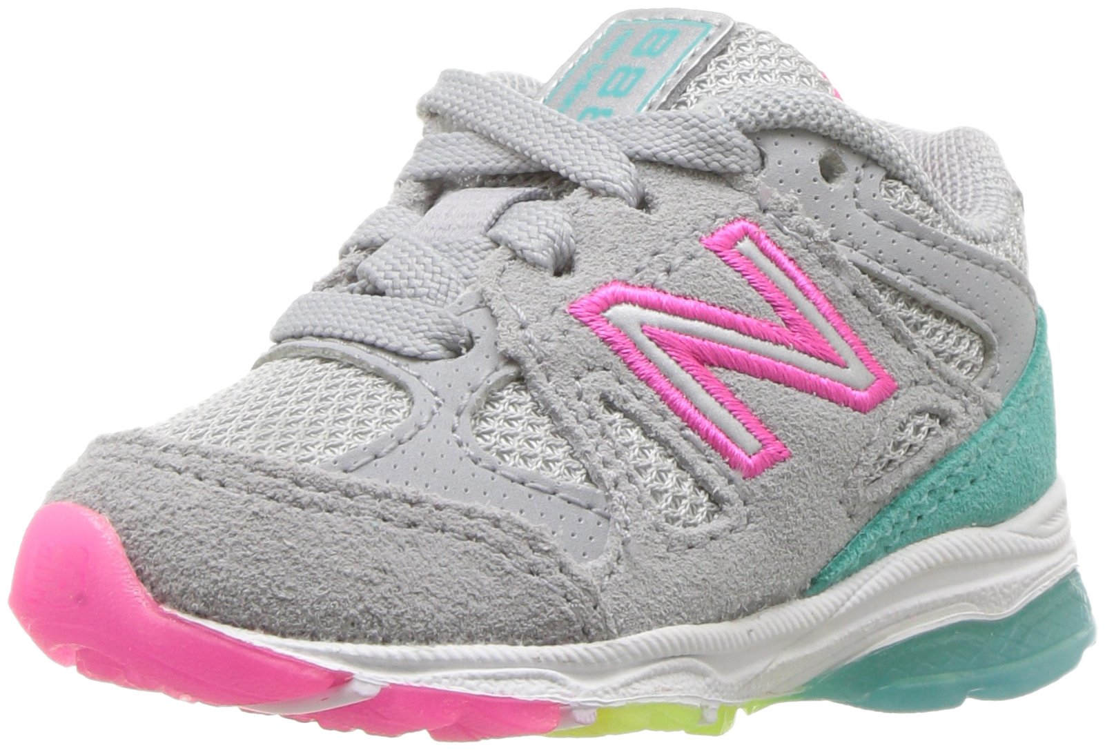 New Balance Girls' 888v1 Running Shoe, Silver Mink/Rainbow, 6 W US Big Kid