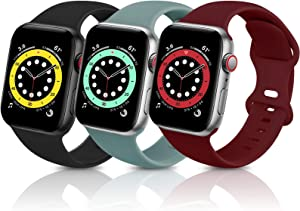 ZALAVER Bands Compatible with Apple Watch Band 42mm 44mm, Soft Silicone Sport Replacement Band Compatible with iWatch Series 6 5 4 3 2 1 Women Men Black/Cactus/Wine Red 42mm/44mm S/M