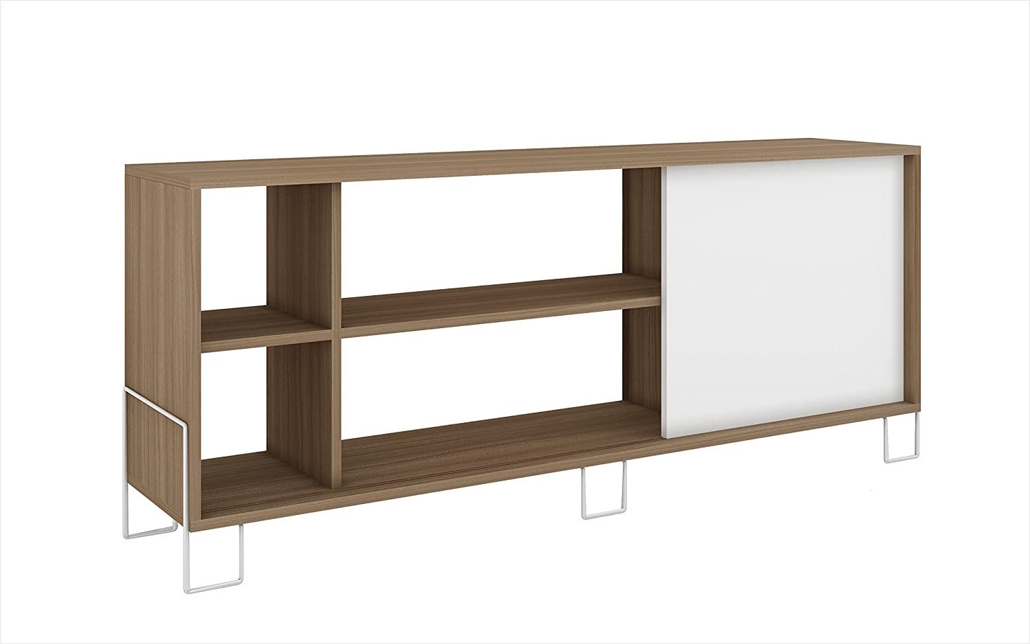 Amazon com modhaus living mid century modern 5 shelves 46 inches tv stand media cabinet with 1 sliding door and metal legs includes pen white and