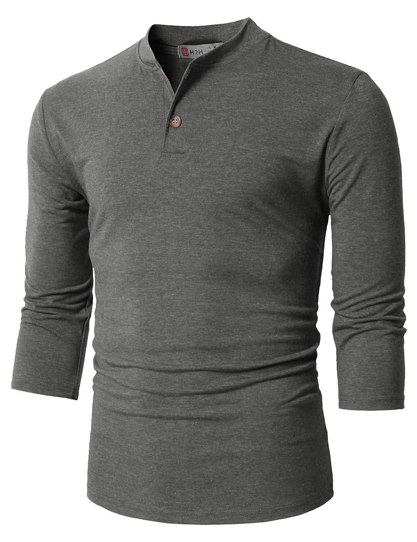 【H2H】ベーシック メンズ カジュアル ファッション オシャレ カラー ヘンリーネック 七分袖 ティーシャツ CMTTS0174 B076J89XRB S|Cmtts0205-charcoal Cmtts0205-charcoal S