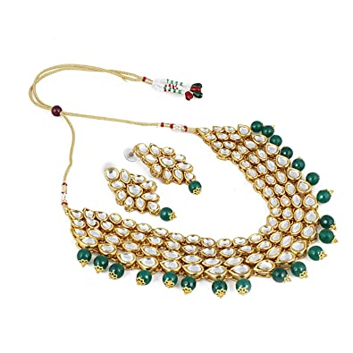 b91e5ebefea Buy Aradhya Green Stone Kundan Necklace With Earrings For Women And Girls  Online at Low Prices in India   Amazon Jewellery Store - Amazon.in