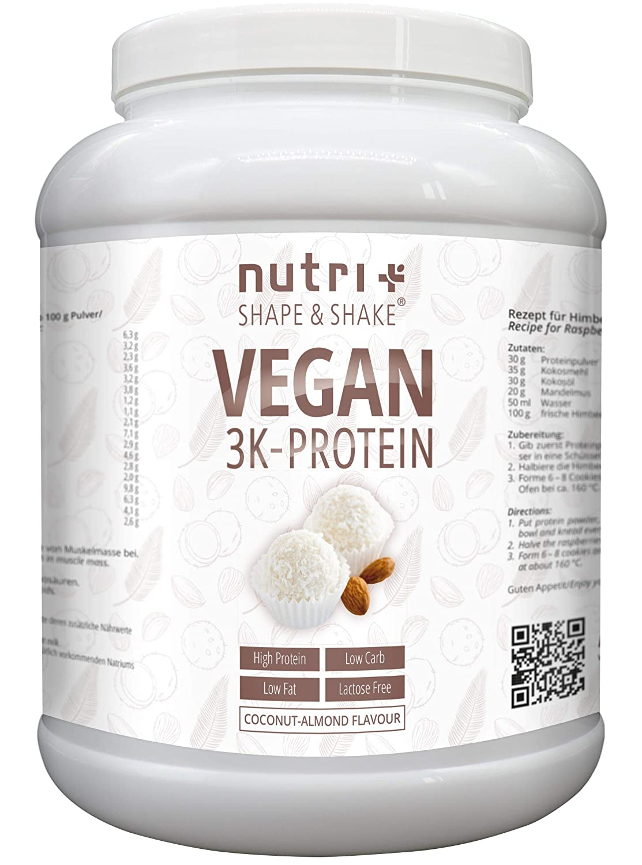 PROTEIN VEGAN Kokosnuss Mandel 1kg | 83,8% Eiweiß | Nutri-Plus Shape & Shake 3k Low Carb