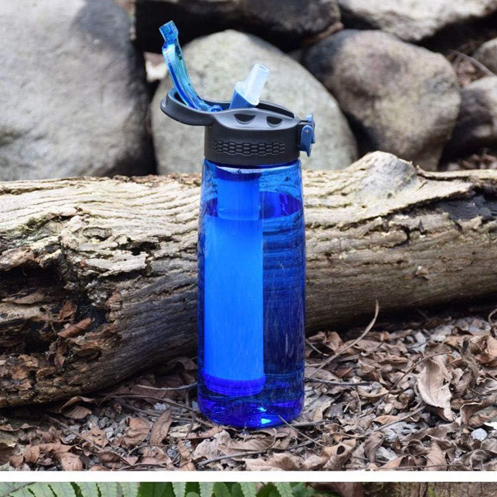 La pajita ultra filtraci/ón filtra 1000 litros de agua Purificador de agua con membrana de fibra hueca y filtro de carb/ó Purifica el Agua Eliminando el 99.9/% de Bacterias y Par/ásitos del Agua ppBotella de Agua de Viaje Plegable