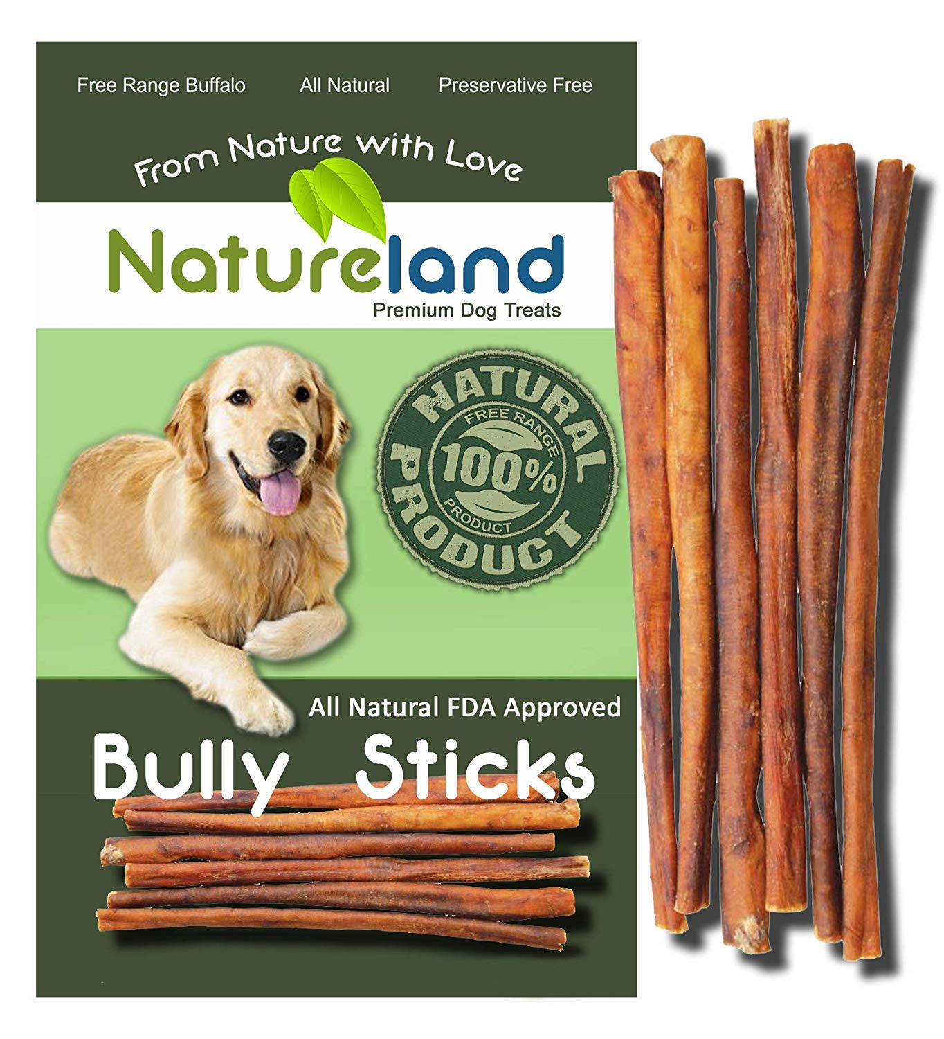Natureland 12 Bully Sticks Standard Thickness – All-Natural, Free-Range, Grass-Fed, 100 Beef Dog Chews