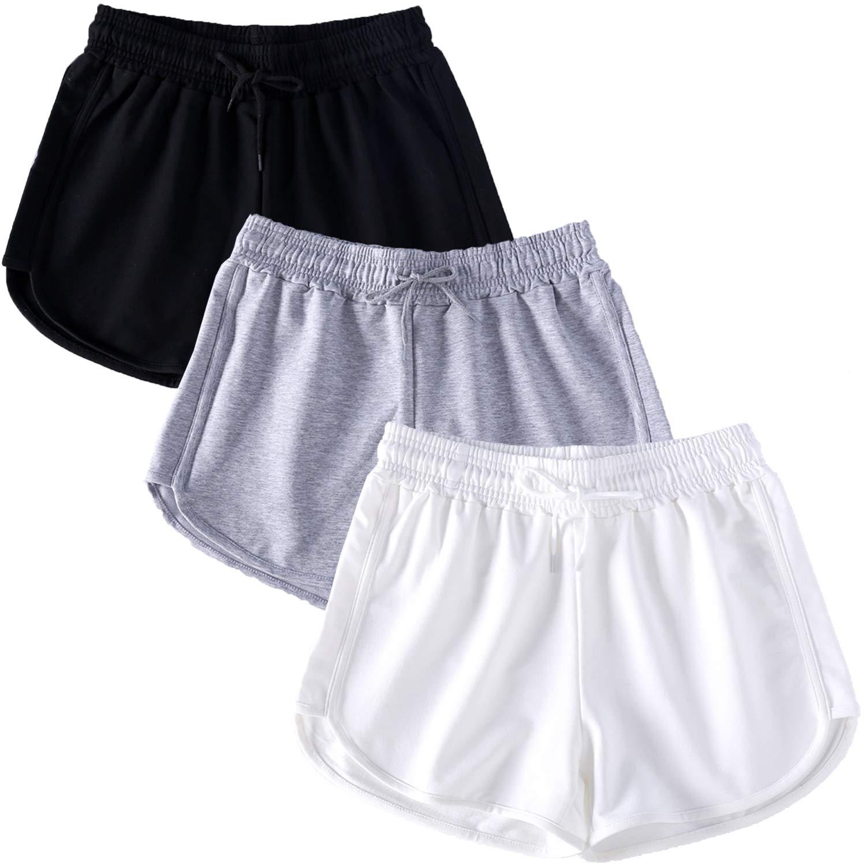 NEWITIN 3 Pack Womens Casual Sport Shorts Running Shorts Yoga Short Pants for Women Girls, 3 Colors