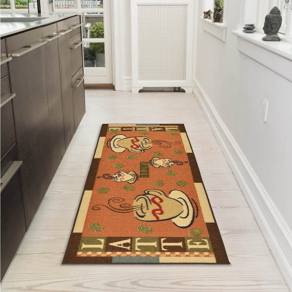 Ottomanson Sara's Kitchen Coffee Cups Design Mat Runner Rug with Non-Skid (Non-Slip) Rubber Backing, 20'' x 59'', Dark Orange by Ottomanson