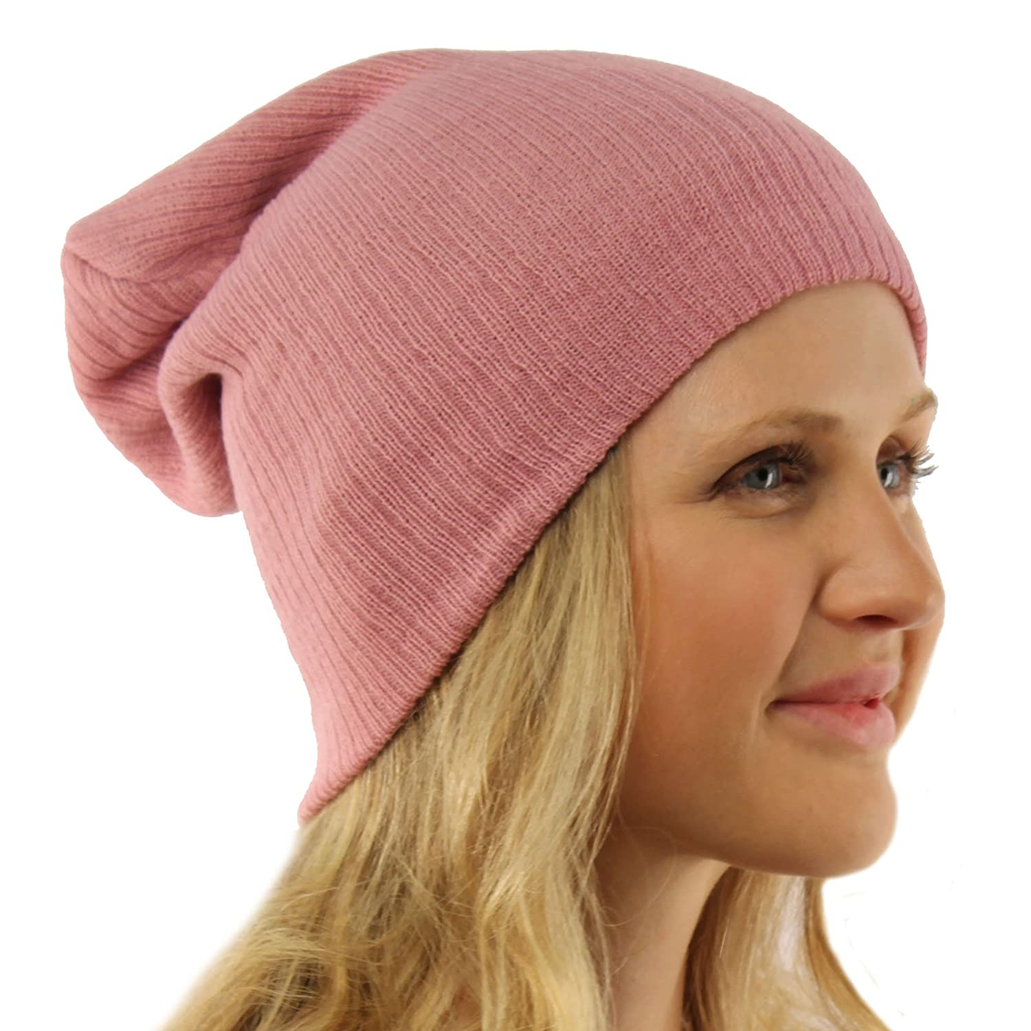 Unisex Soft Ribbed Long Beanie Slouchy Knit Hat Cap