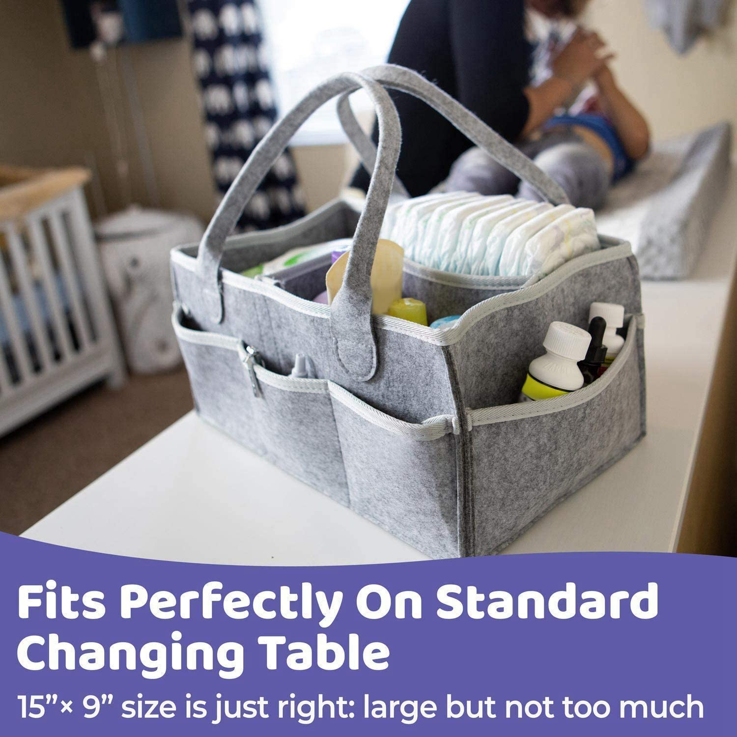 Nursery Essentials Storage Bins WOVELOT 2PCS Baby Diaper Caddy Organizer Portable Holder Bag for Changing Table and Car