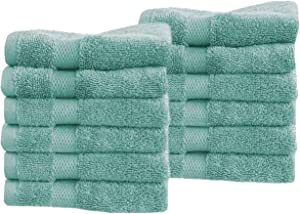 Cotton & Calm Exquisitely Fluffy Washcloths/ Face Cloths Towel Set (12 pk, 13x13), Premium Teal Washcloths - Super Soft, Thick, and Absorbent for Face, Hand, Spa & Gym (Teal)