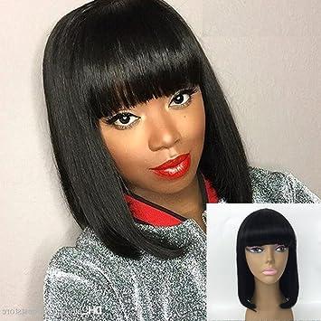 4909c37aa JYL Hair Brazilian Virgin Straight Short Bob Wigs for Woman Shoulder Length  12'' Remy
