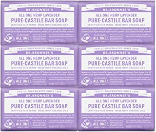product image for Dr. Bronner's - Pure-Castile Bar Soap (Lavender, 5 ounce, 6-Pack) - Made with Organic Oils, For Face, Body and Hair, Gentle and Moisturizing, Biodegradable, Vegan, Cruelty-free, Non-GMO