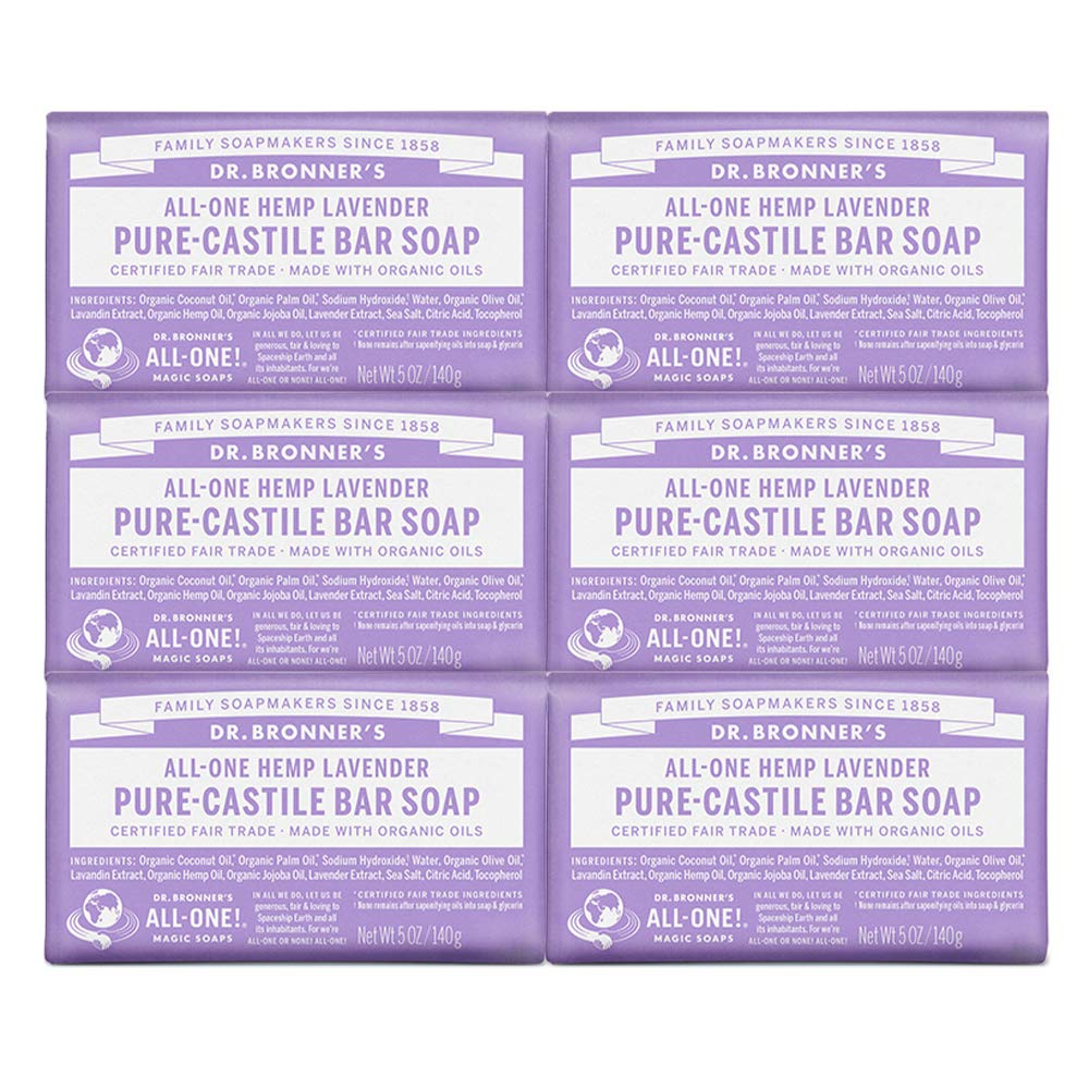 Dr. Bronner's - Pure-Castile Bar Soap (Lavender, 5 ounce, 6-Pack) - Made with Organic Oils, For Face, Body and Hair, Gentle andMoisturizing, Biodegradable, Vegan, Cruelty-free, Non-GMO