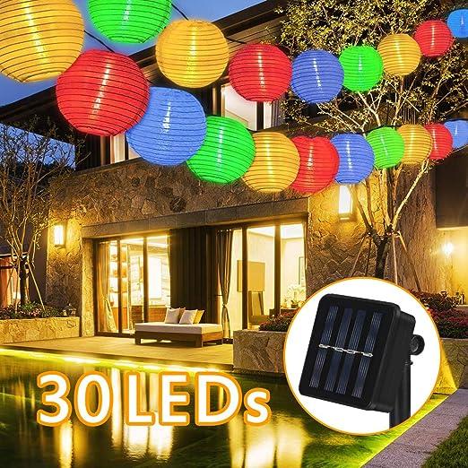 Guirnaldas de Luces Solar Farolillos, 6.5 Metros 30 LED Guirnaldas de Luces Farolillos Solares Exterior Impermeable IP65 para Decoración Jardines Casas Bodas Decoracion Fiesta(Multicolor): Amazon.es: Iluminación