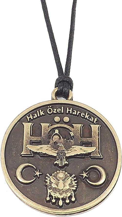 G/ök-T/ürk Collier pour des hommes Unisex avec pendentif Croissant de lune avec /étoile Ay Yildiz Cordon noir