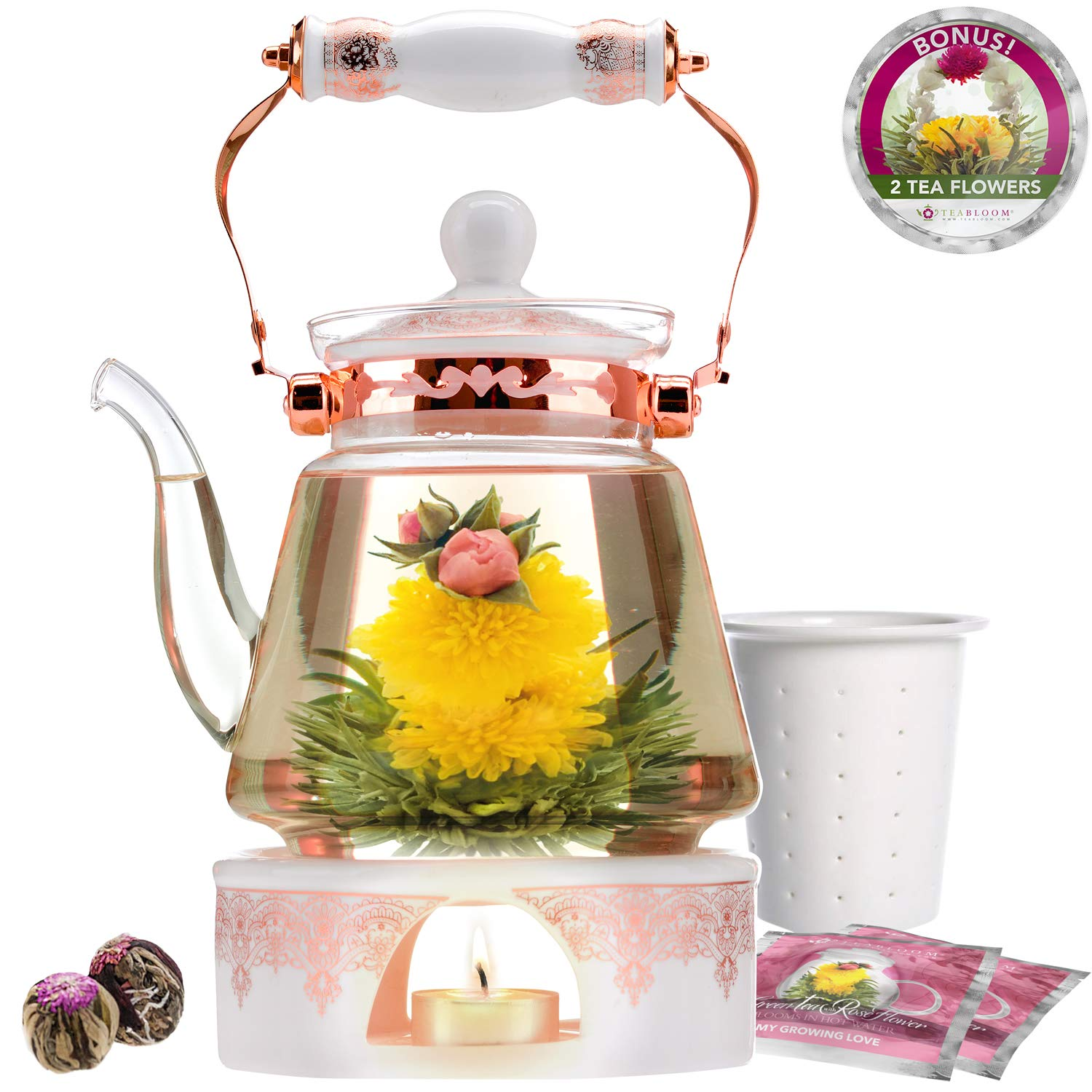 Teabloom Buckingham Palace Teapot & Flowering Tea Gift Set (6 Pieces) - Stovetop Safe Glass Teapot (40oz/1200ml), Porcelain Lid, Tea Warmer, Porcelain Loose Tea Infuser, 2 Gourmet Rose Blooming Teas