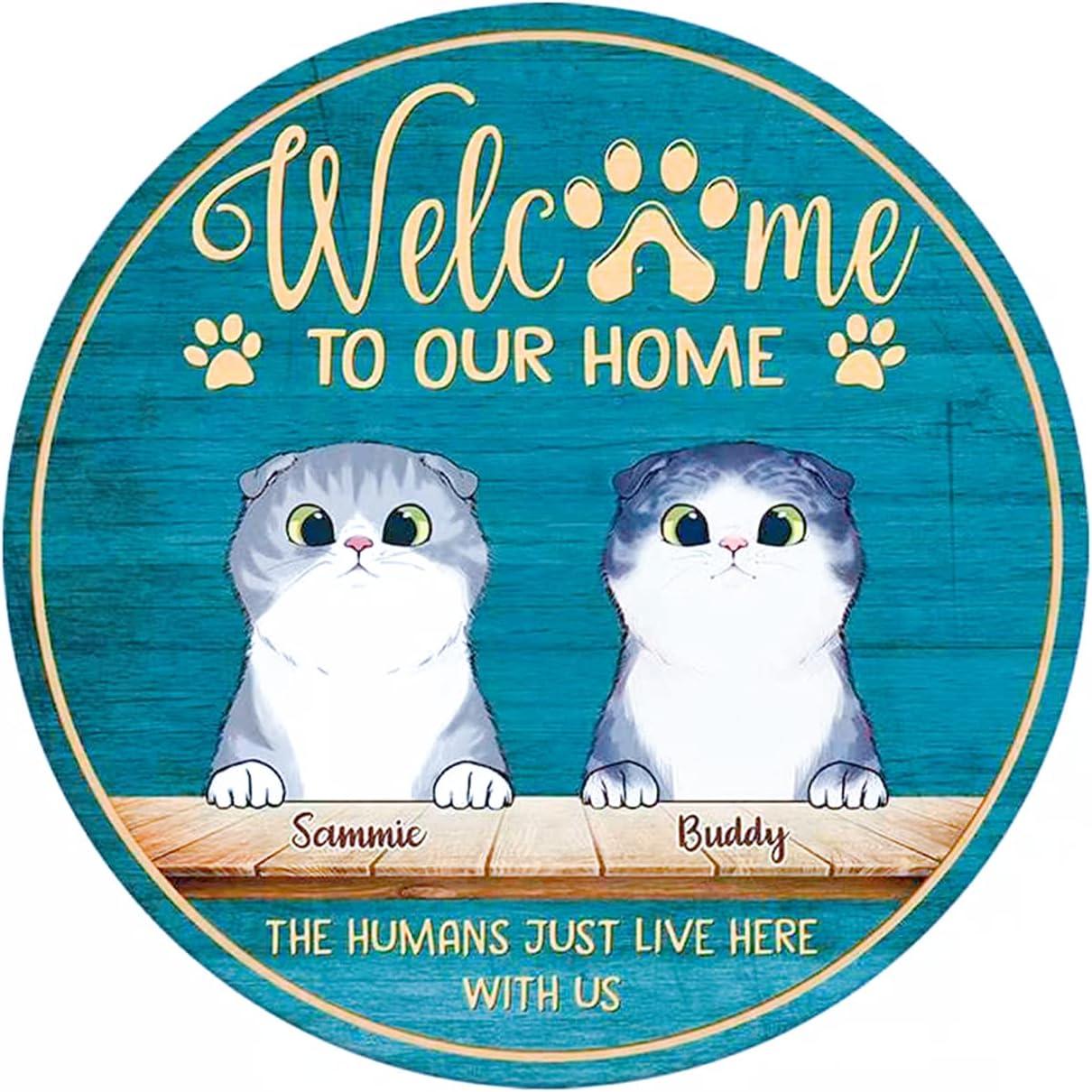 Welcome Sign for Front Door, Front Door Decor, Door Sign for Front Door Outside, Front Door Hanging Sign Wood, Outdoor Welcome Sign - Welcome to Our Home