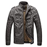 Toimothcn Mens Button Full Zipper Jacket Stand