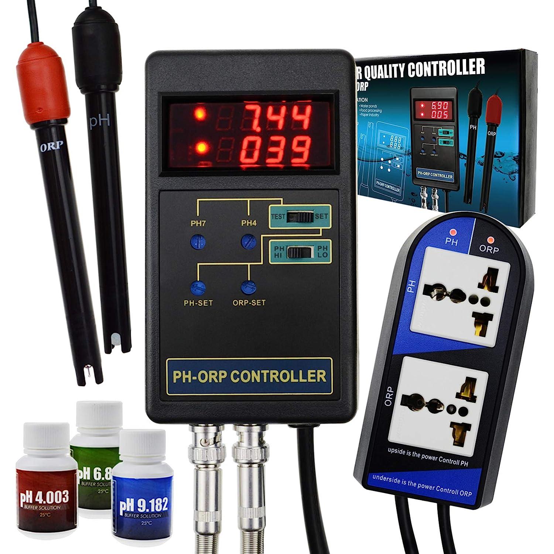 2 en 1 Controlador ORP de pH digital Relés separados Electrodo recargable Sonda de tipo BNC Probador de la calidad del agua Aquarium Hydroponics Tank Monitor 14.00pH / 1999mV Solución de calibración