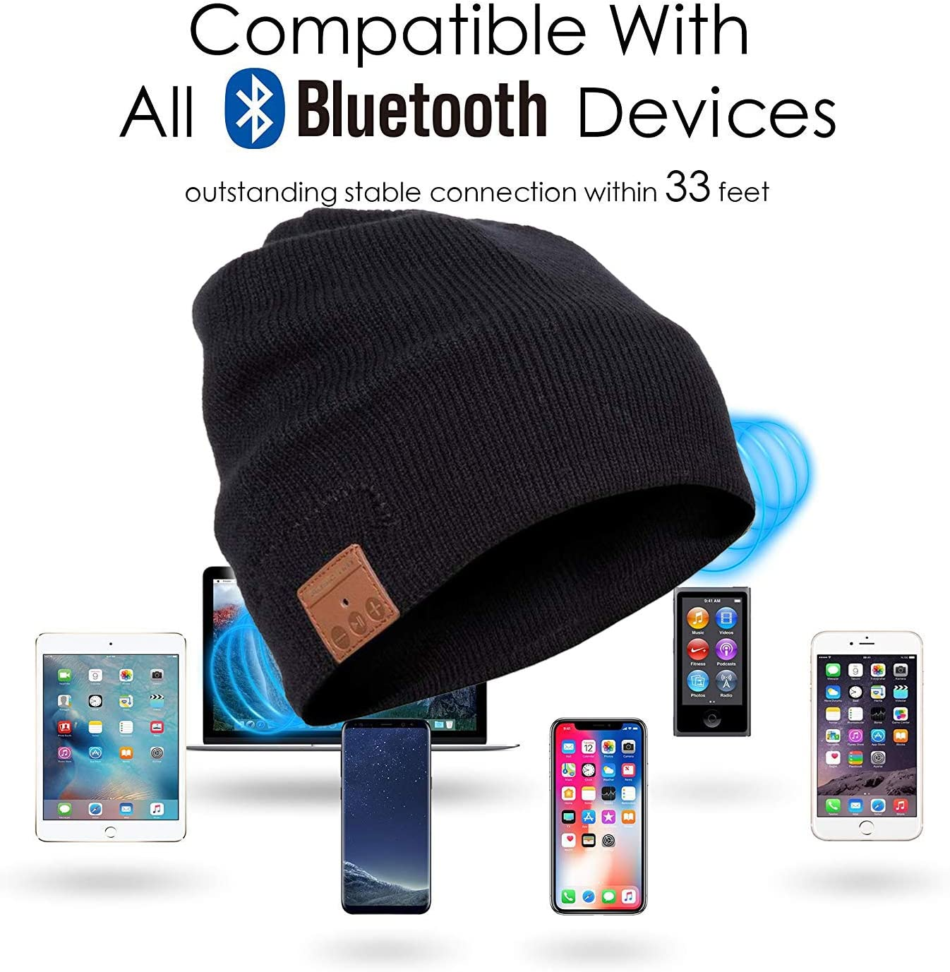 CCHKFEI Bluetooth Beanie Hat Cap with Wireless Bluetooth Headphone Headset Music Audio Hands free Phone Call for Winter Sports Exercise Hat Gloves Gift Package