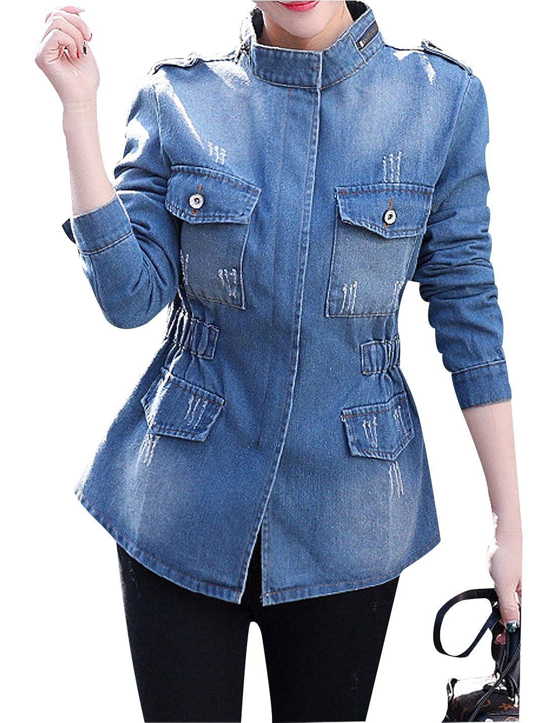 Yeokou Women's Casual Slim Mid Long Denim Jean Windbreaker Jacket Coat