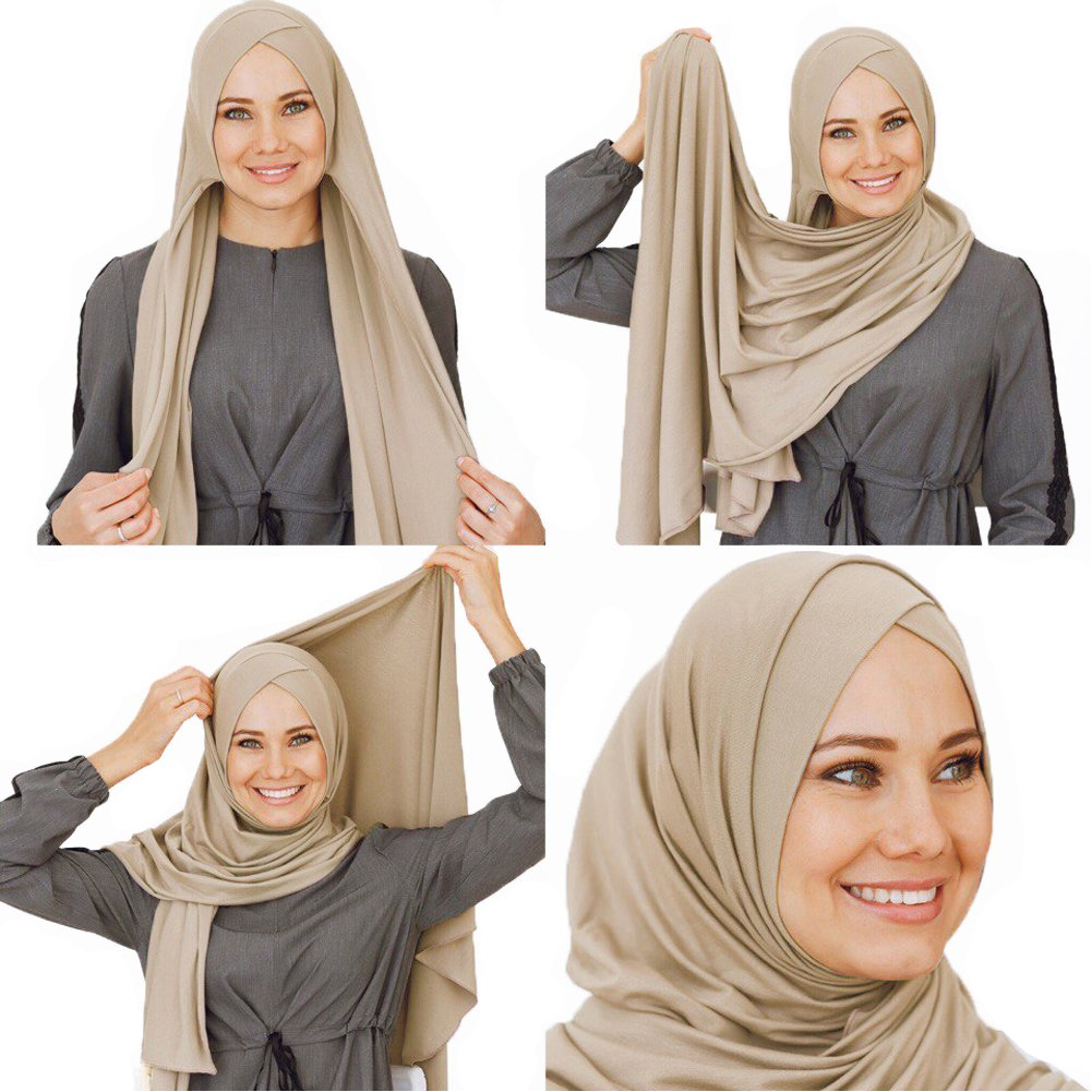 Cotton head scarf, instant hijab, ready to wear muslim accessories for women (Beige)
