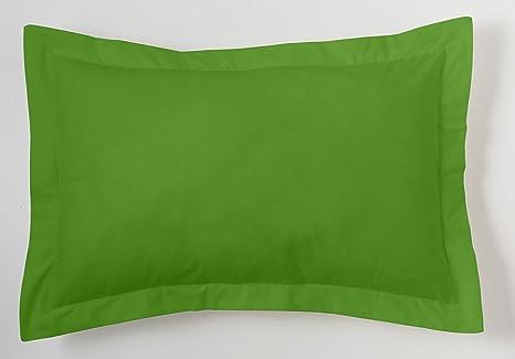 ESTELA - Funda de cojín Combi Lisos Color Verde - Medidas 50x75+5 cm. - 50% Algodón-50% Poliéster - 144 Hilos - Acabado en pestaña