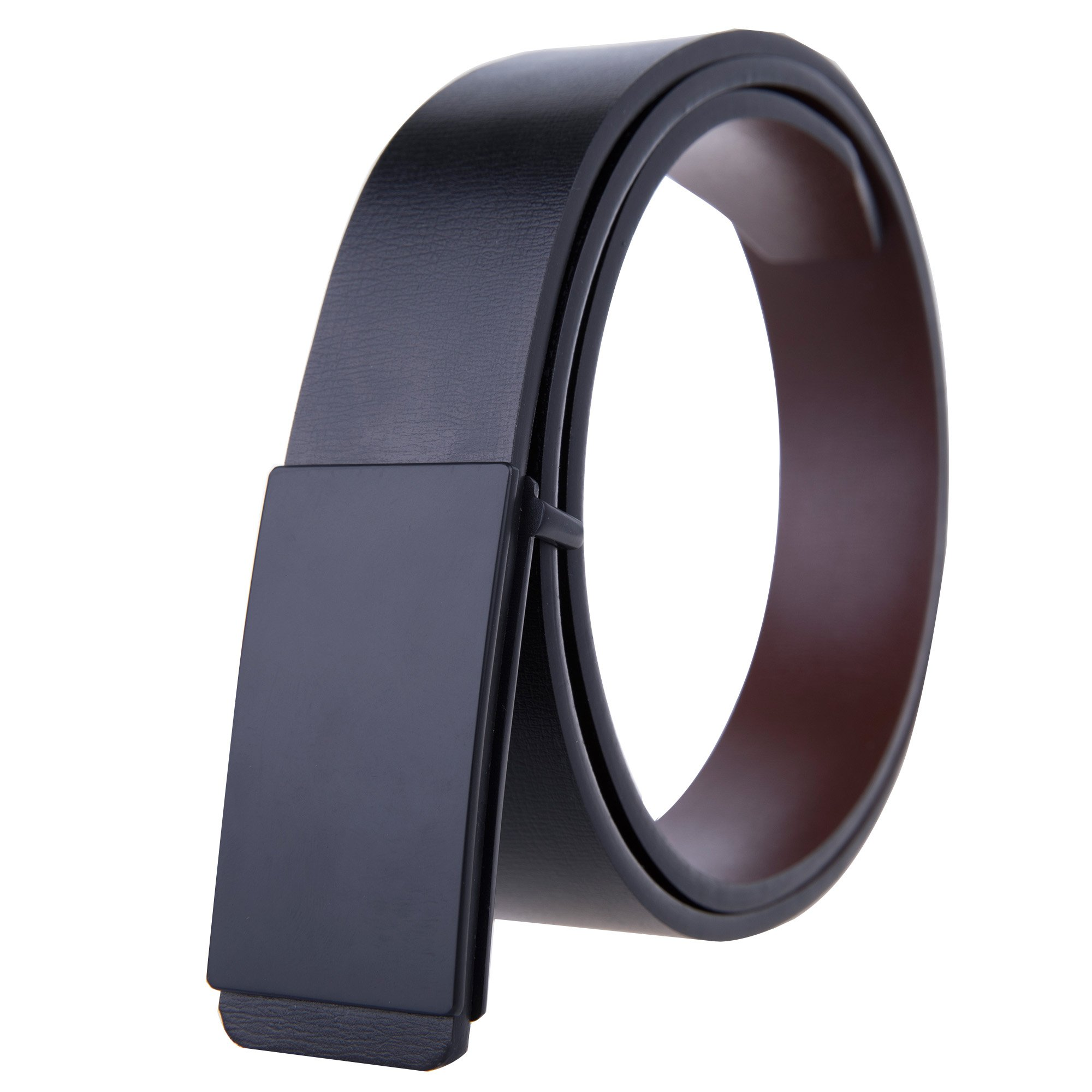 Tanpie Mens Leather Dress Belt with Removable Alloy Smooth Plaque Buckle (34-38.5in.(115cm),Black1)