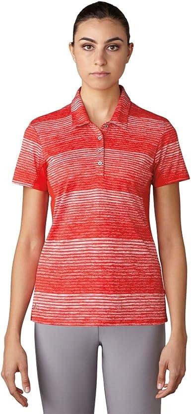 adidas Golf Polo de Manga Corta diseño de Rayas de la Mujer T-Shirt