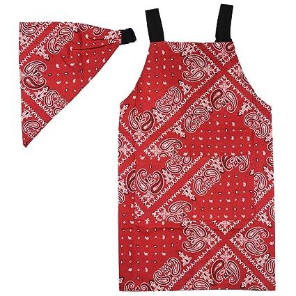 7591c71d497143 フレンズヒル キッズエプロンM おそろいの三角巾つき レッド 110-120 ペイジー HW-