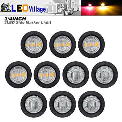 10 Pcs TMH 3/4 Inch Surface Mount Clear Lens 5 Amber & 5 Red LED Clearance Markers Bullet Marker lights, side marker lights, led marker lights, led trailer marker lights: Automotive