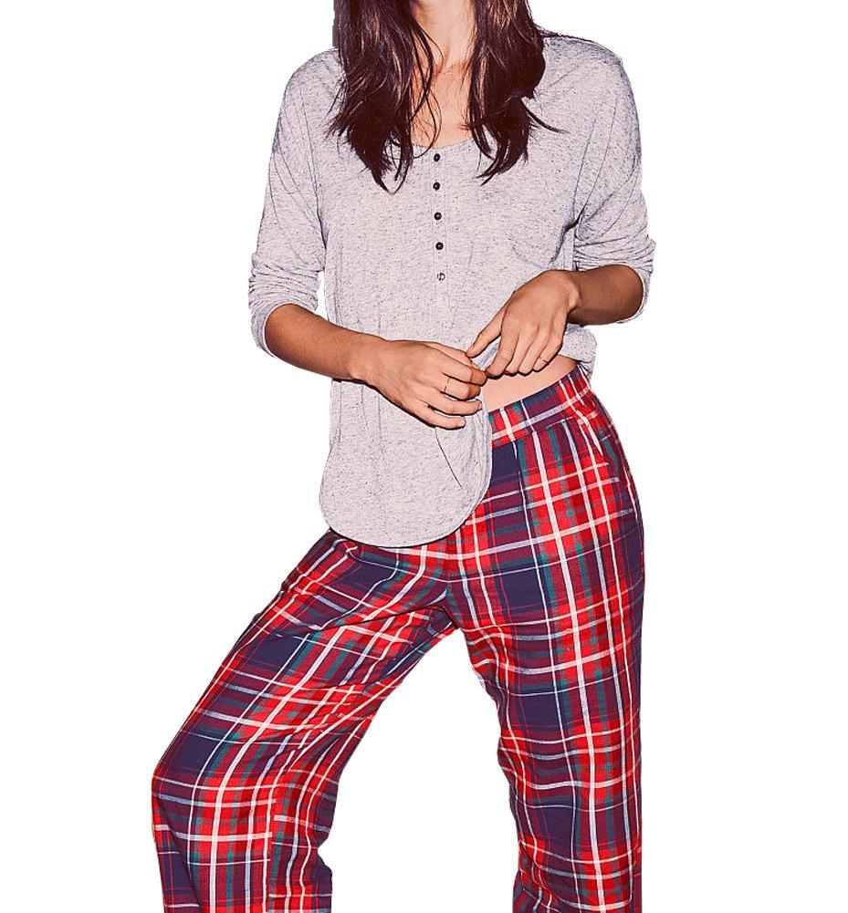 Victoria's Secret , Women's The Dreamer Henley Red Blue Plaid Pajama 2 Piece PJ Set Large