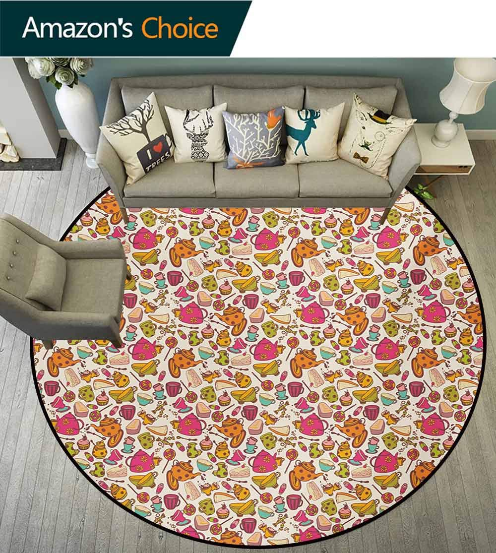 RUGSMAT Tea Party Modern Washable Round Bath Mat,Retro Style Kitchen Things Pattern Cups and Pots Delicious Cakes Colorful Candies Non-Slip Bathroom Soft Floor Mat Home Decor,Round-63 Inch by RUGSMAT (Image #2)