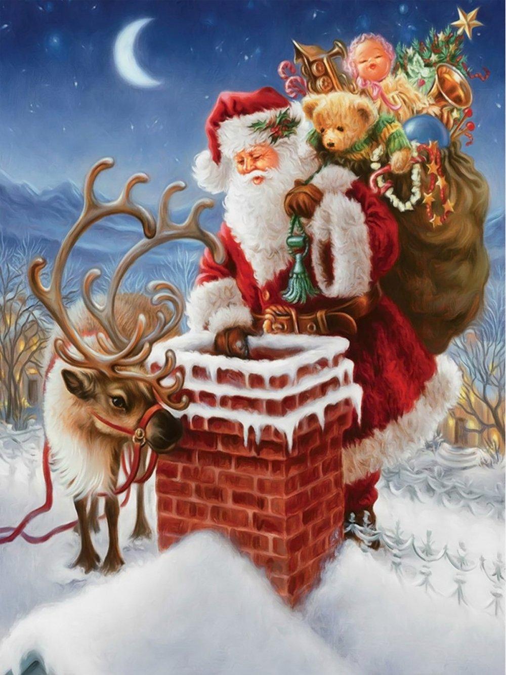 DIY 5D Diamond Painting Santa Claus Embroidery Art Cross Stitch Xmas Home Decor