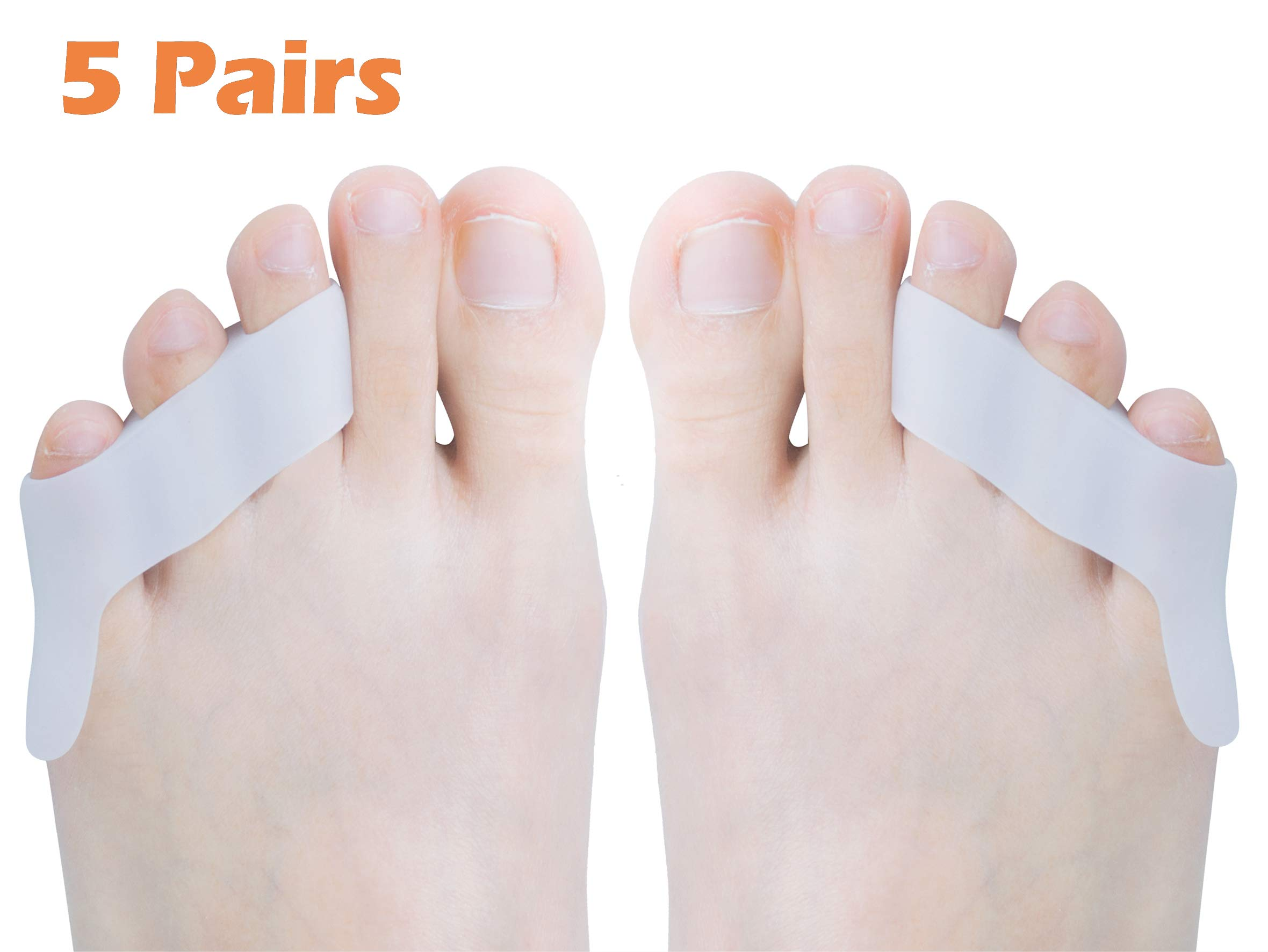 Povihome Pinky Toe Separator & Straightener, Triple Gel Toe Separators for Overlapping Toe, Pinky Hammer Toes - 5 Pairs