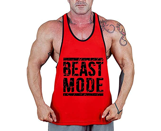 Exercise & Fitness Men Cuifutang Beast Mens Stringer Bodybuilding Fitness Muscle Workout Gym Tank Top Singlet