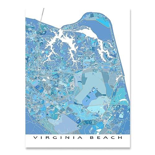 image relating to Printable Maps of Virginia titled : Virginia Seashore Map Print, VA, United states of america Metropolis Road