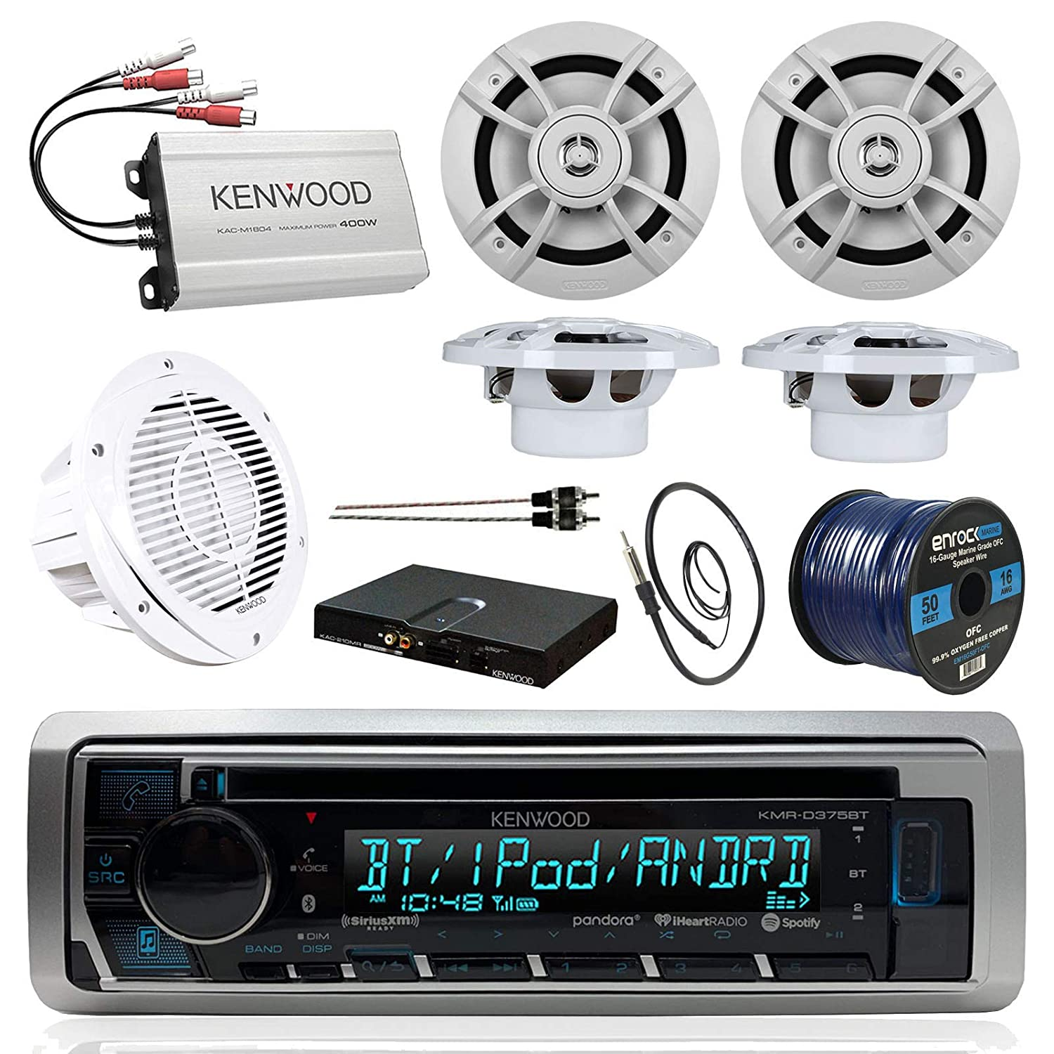 Boat Sound System Package Kenwood Marine Bluetooth Wiring Diagram Further Head Unit On Cd Changer Receiver Compact 4 Ch Amp 65 Inch Speakers 10 Woofer Sub