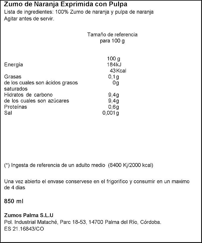 Zumosol Zumo De Naranja Exprimida Con Pulpa - 850 ml: Amazon.es: Amazon Pantry