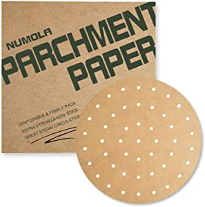 Numola 9 Inch Air Fryer Liners, 100 PCS Perforated Parchment Paper Compatible with COSORI, GoWISE USA, Instant Vortex, Ninja, Ultrean, Chefman, Innsky, Dash and More 5.3-5.8qt Air Fryers(Unbleached)