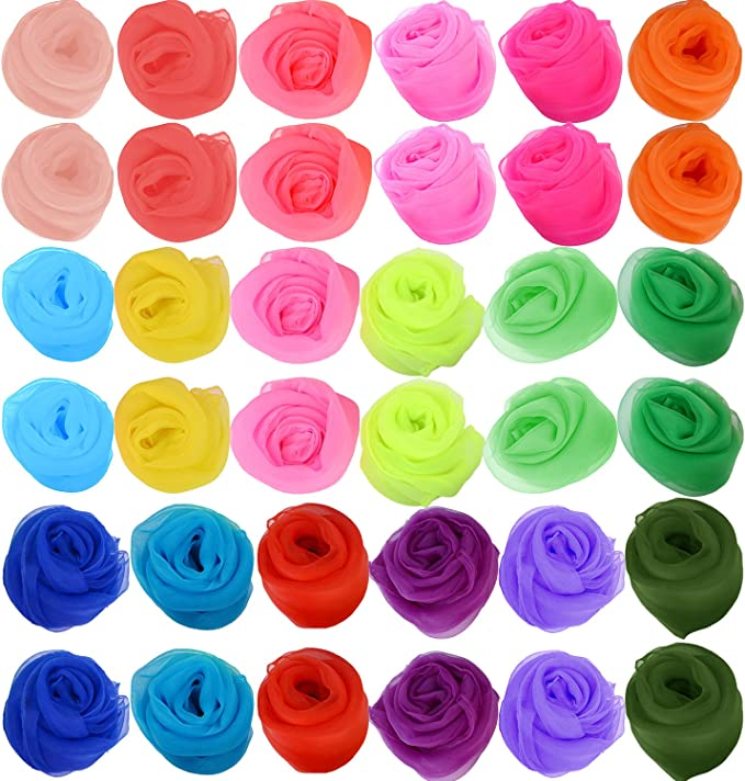 Vklet Square Dance Scarves 36 Pack Juggling Scarf Props Magic Trick Silk Scarves Music Movement Scarf 12 Colors 24