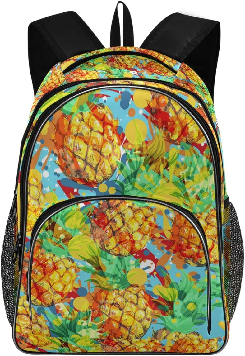 College School Laptop Backpack 15.6 Inch - Pineapples Waterproof Students Backpacks with USB Charging Port for Women Gift