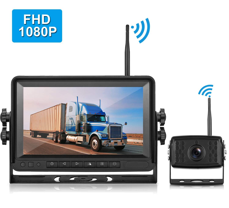 LeeKooLuu FHD 1080P Digital Wireless Rear View Camera, 7'' MonitorIP69K Waterproof Color Night Vision High-Speed Observation System Backup Camera for RVs.Trailers,Box Truck/Motorhomes,5th Wheels