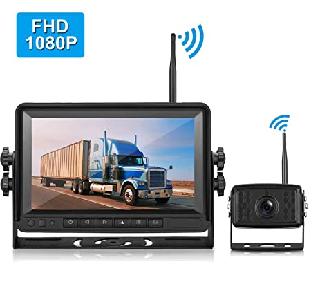 LeeKooLuu FHD 1080P Digital Wireless Rear View Camera, 7 Monitor IP69K Waterproof Color Night Vision High-Speed Observation System Backup Camera for RVs.Trailers,Box Truck Motorhomes,5th Wheels