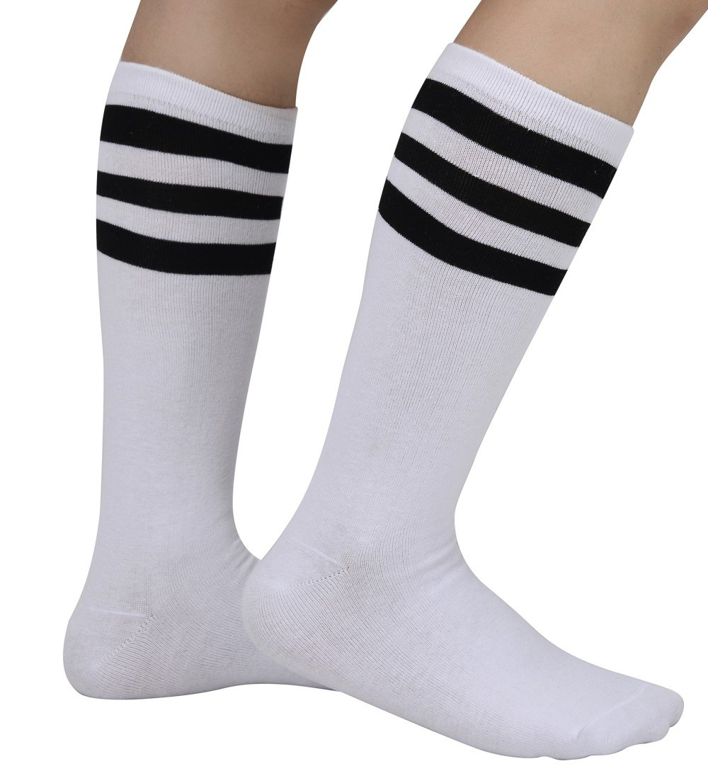 Eleray 1 to 3 Pack Classic Triple Stripes Soft Cotton Knee High Tube Socks