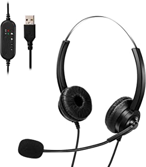 UeeVii USB Headset with Microphone, PC Headset Headphone with Mic Noise Cancelling&Audio Controls Microphone Headphone Computer Earphone, Crystal Clear Chat, Super Lightweight, Ultra Comfort
