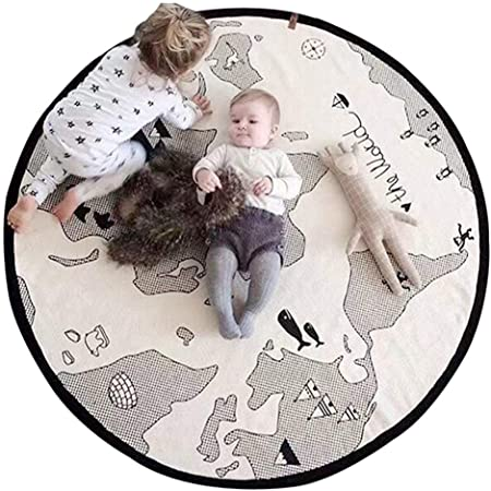 Soft Baby Crawling Mat Blanket Floor Infant Round Rug Cotton Photo Gift Playroom