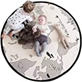 lulalula Baby Play Mat, Soft Canvas Cotton Infant World Map Playmat Blanket Crawling Mat Round Lace Activity Pad Carpet Floor Rug for Home Kids Decoration Bedroom Gift